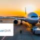 Flugzeug wartet darauf, geladen zu werden. Logos von ISH und Sevenshift